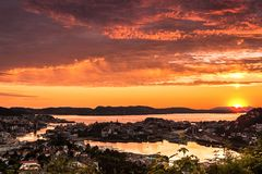 Colorful Sunset Scene with Aerial View of Bergen City royalty free stock images