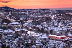 Winter Scene with Aerial View of Bergen City at Dawn royalty free stock images