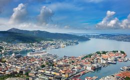 Image of Bergen from Floyen Viewpoint royalty free stock image