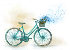 Image of bicycle whit basket of flowers. In provence style stock illustration