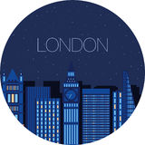 The image of the big city inside  circle Stock Photo