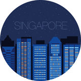 The image of the big city inside  circle Stock Photography