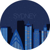 The image of the big city inside  circle Royalty Free Stock Photo