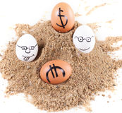 Image of big white eggs with dollarand euro  signs on a sand Royalty Free Stock Images