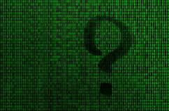 An image of a binary code from bright green digits, through which the form of a question mark is visible stock illustration