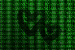 Image of the binary code from bright green figures, through which the shape of the heart is visible stock image