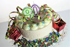 An image of a birthday cake - 90 birthday stock photo