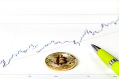 An image with a bitcoin sign. Royalty Free Stock Photography