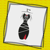 Image a black cocktail dress with frills. Illustration of a black cocktail dress with frills on a hanger in a frame on a yellow background with a pattern royalty free illustration