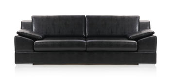 Image of a black leather sofa Royalty Free Stock Photography