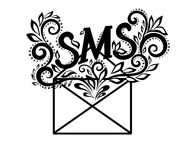Image of black-and-white logo envelope sms in flor Stock Image