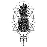 Image of black white pineapple fruit with geometric figures. Print t-shirt, graphic element for your design, tattoo. Image of black white pineapple fruit with Vector Illustration