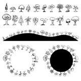 Tree Drawing Set Circle Hills royalty free illustration