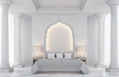 Image blanche de luxe de rendu de la chambre à coucher 3D Photo libre de droits