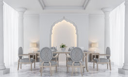 Image blanche de luxe de rendu de la salle à manger 3D Images stock