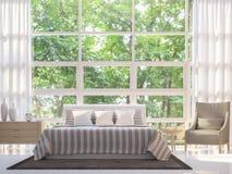 Image blanche moderne de rendu de la chambre à coucher 3d Photos libres de droits