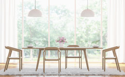 Image blanche moderne de rendu de la salle à manger 3d Photos stock