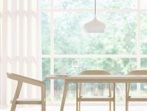 Image blanche moderne de rendu de la salle à manger 3d Image libre de droits