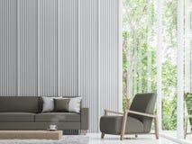 Image blanche moderne de rendu du salon 3d Images stock