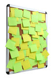 Image of blank colorful sticky notes on cork pinboard Royalty Free Stock Photo