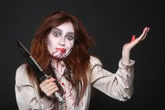 Image of a Bleeding Psychotic Woman Royalty Free Stock Images