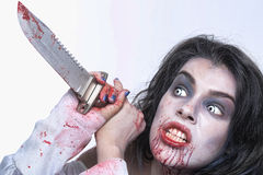 Image of a Bleeding Psychotic Woman Stock Photo