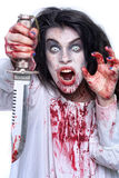 Image of a Bleeding Psychotic Woman Stock Images
