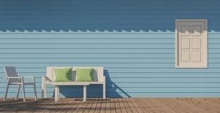 Image bleue de rendu de la terrasse 3d Photos stock