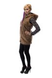 Image of blonde in brown fur jacket, half turned Stock Photos