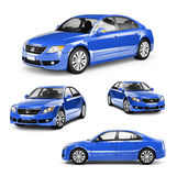 Image of a Blue Car on Different Positions Stock Images