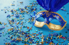 Image of blue with gold elegant venetian mask Stock Photos