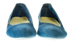 Image of blue jeans women fashion slippers Stock Images