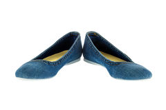 Image of blue jeans women fashion slippers Stock Photo