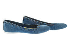 Image of blue jeans women fashion slippers Stock Photography