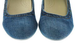 Image of blue jeans women fashion slippers Royalty Free Stock Photo