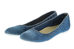 Image of blue jeans women fashion slippers Royalty Free Stock Image