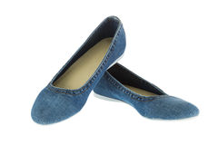 Image of blue jeans women fashion slippers Stock Image