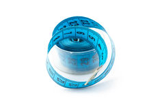 Image blue measuring tape in a box, cm Stock Photography