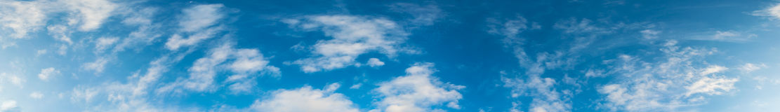 Image of blue sky and white cloud. Panorama image of blue sky and white cloud texture for background usage Stock Photos