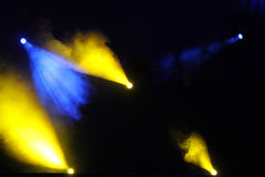 Image of blue yellow lighting flare on a floor stage Royalty Free Stock Images