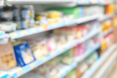 The image is blurred, and goods in the convenience store. And in the background With so many different products such as milk and of the need to refrigerate it royalty free stock image