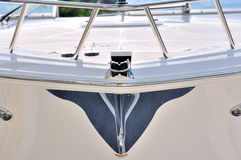 Image from body of a yacht. Image in symmetry, from body and rail of a luxury yacht, shown as abstract and symmetric shape, and holiday sport or marine activity Stock Image