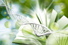 Image of book on DNA chain background. 