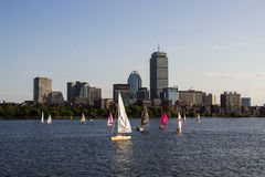 Boston Skyline and Sailboats along Charles River Royalty Free Stock Photos