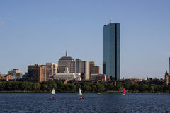 Boston Skyline and Sailboats along Charles River Royalty Free Stock Image