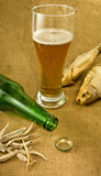 Image of the bottle, a glass of beer and dry fish closeup Royalty Free Stock Images