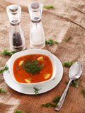 Image of bowl of hot red soup served with the salt, pepper and s Stock Photography