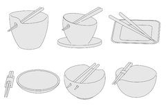 Image of bowls with chopsticks Stock Photos
