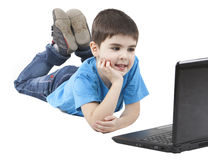 Image of a boy. With a computer Stock Photography