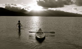 Image of boy with a boat Stock Images